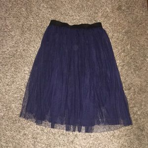 Navy Blue Midi Skirt